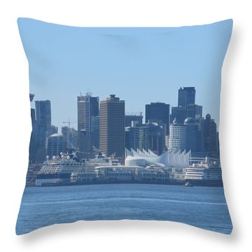 Downtown View From North Vancouver Throw Pillow