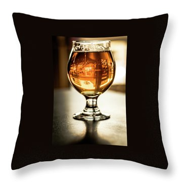 Downtown Waukesha Through A Glass Of Beer At Bernie's Taproom Throw Pillow