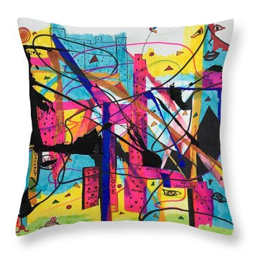 Downtown --where All The Lights Are Bright Throw Pillow