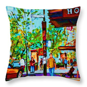 Downtowns Popping Throw Pillow by Carole Spandau