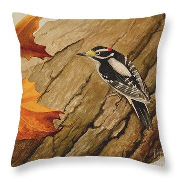 Downy Woodpecker Throw Pillow