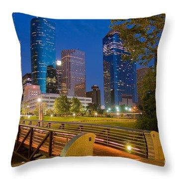 Dowtown Houston By Night Throw Pillow