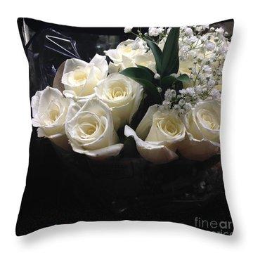 Dozen White Bridal Roses Throw Pillow