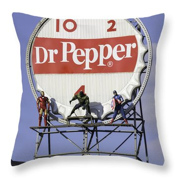 Dr Pepper And The Avengers Throw Pillow