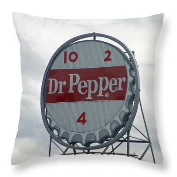 Dr. Pepper Sign - Roanoke Virginia Throw Pillow