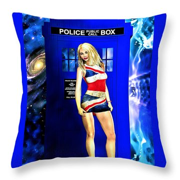 Doctor Who - Tardis And Rose Tyler Throw Pillow