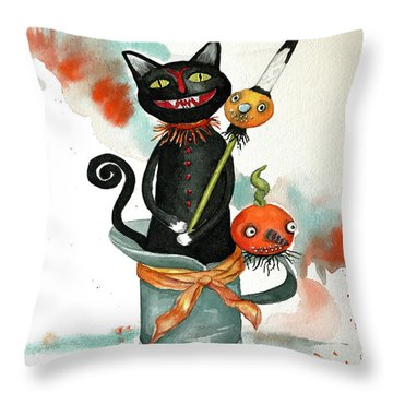 Dracula Vintage Cat Throw Pillow