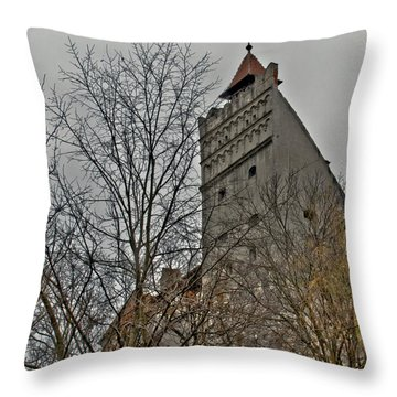 Dracula's Castle Transilvania In Hdr Throw Pillow