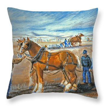 Draft Horse Pull Throw Pillow