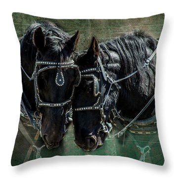 Throw Pillow featuring the photograph Draft Horses by Mary Hone