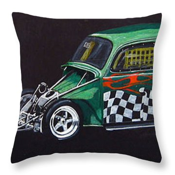 Throw Pillow featuring the painting Drag Racing Vw by Richard Le Page