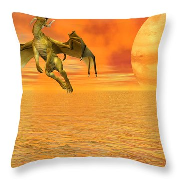 Dragon Against The Orange Sky Throw Pillow by Michele Wilson