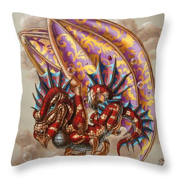 Dragon And A Ladybird Throw Pillow