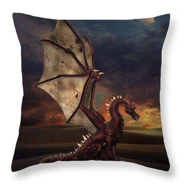 Dragon At Sunset Throw Pillow