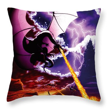 Dragon Attack Throw Pillow by The Dragon Chronicles - Steve Re