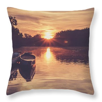 Dragon Boats Throw Pillow