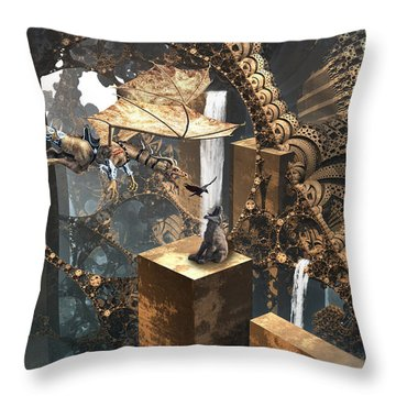 Dragon Dinner Throw Pillow by Hal Tenny
