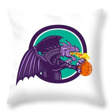 Dragon Fire Holding Basketball Circle Retro Throw Pillow