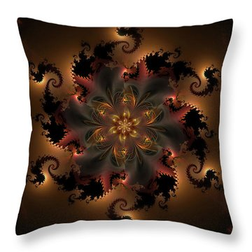 Dragon Flower Throw Pillow by GJ Blackman