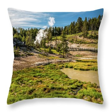Dragon Geyser At Yellowstone Throw Pillow