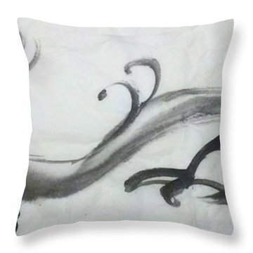 Dragon In Black Ink Throw Pillow