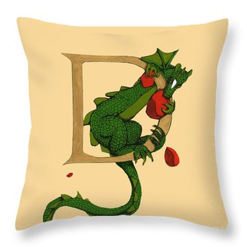 Throw Pillow featuring the digital art Dragon Letter D 2016 by Donna Huntriss