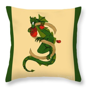 Throw Pillow featuring the digital art Dragon Letter S V2 by Donna Huntriss