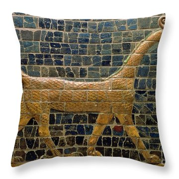 Dragon Of Marduk - On The Ishtar Gate Throw Pillow by Anonymous