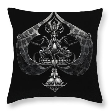 Dragon Of Spades Throw Pillow