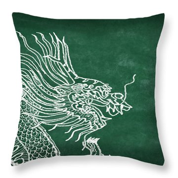 Dragon On Chalkboard Throw Pillow by Setsiri Silapasuwanchai