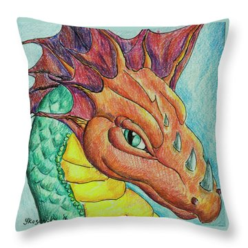 Throw Pillow featuring the drawing Dragon Portrait by Yulia Kazansky