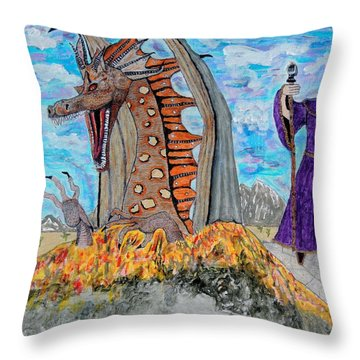 Throw Pillow featuring the painting Dragon Summons. by Ken Zabel