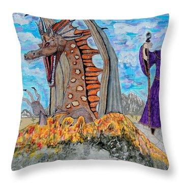 Dragon Summons. Throw Pillow by Ken Zabel