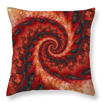 Throw Pillow featuring the digital art Dragon Tail Spiral by Richard Ortolano