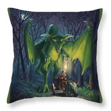 Throw Pillow featuring the digital art Dragon Walking With Lamp Fantasy by Martin Davey