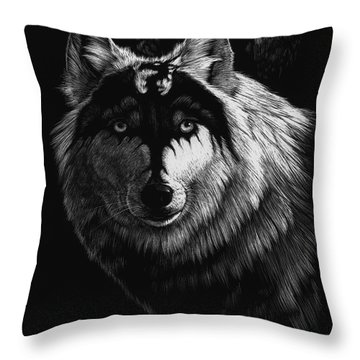 Dragon Wolf Throw Pillow