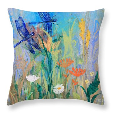 Dragonflies In Wild Garden Throw Pillow