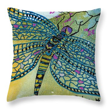 Dragonfly And Cherry Blossoms Throw Pillow by Susan Kubes