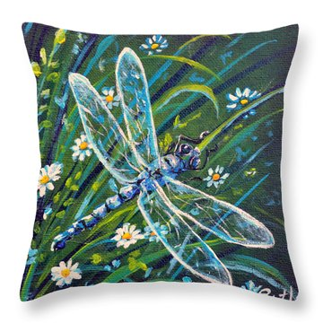Dragonfly And Daisies Throw Pillow by Gail Butler