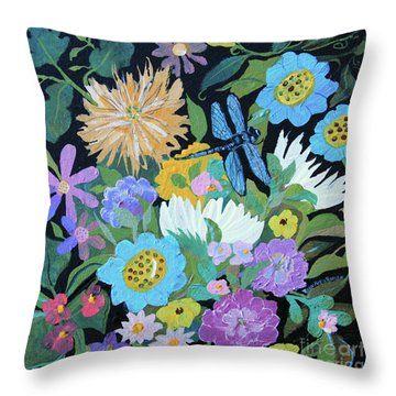 Throw Pillow featuring the painting Dragonfly And Flowers by Robin Maria Pedrero
