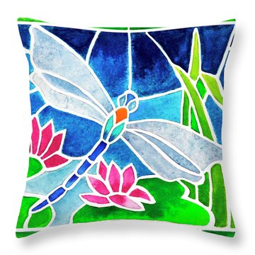 Dragonfly And Water Lilies In Stained Glass 2 Throw Pillow by Janis Grau
