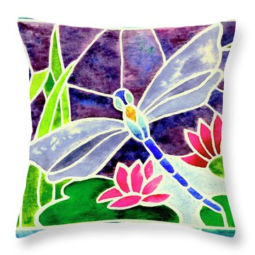 Dragonfly And Water Lily In Stained Glass Throw Pillow by Janis Grau