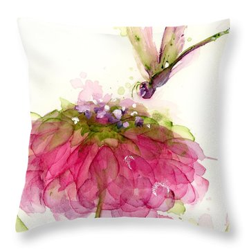 Dragonfly And Zinnia Throw Pillow