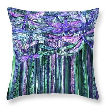 Dragonfly Bloomies 1 - Lavender Teal Throw Pillow by Carol Cavalaris