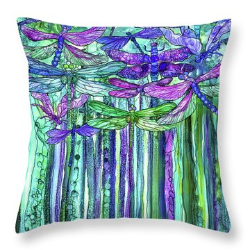 Dragonfly Bloomies 1 - Purple Throw Pillow by Carol Cavalaris