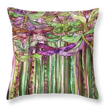 Dragonfly Bloomies 1 - Pink Throw Pillow by Carol Cavalaris