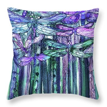 Dragonfly Bloomies 2 - Lavender Teal Throw Pillow by Carol Cavalaris