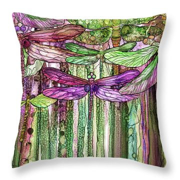 Dragonfly Bloomies 2 - Pink Throw Pillow by Carol Cavalaris
