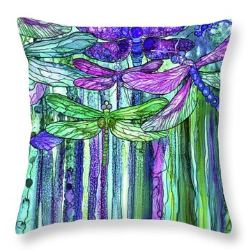 Dragonfly Bloomies 2 - Purple Throw Pillow by Carol Cavalaris