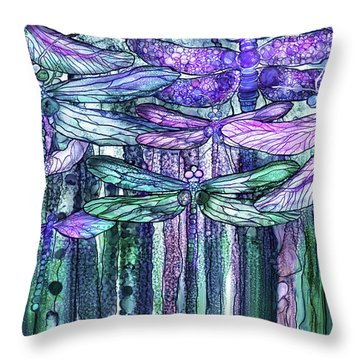 Throw Pillow featuring the mixed media Dragonfly Bloomies 3 - Lavender Teal by Carol Cavalaris
